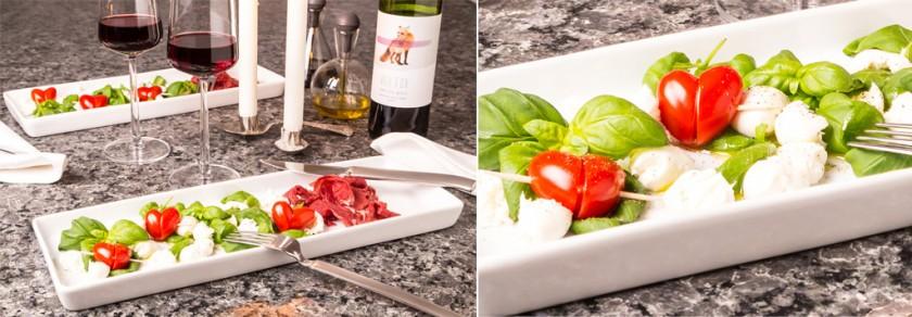 Mozzarella, basilika och tomathjärtan