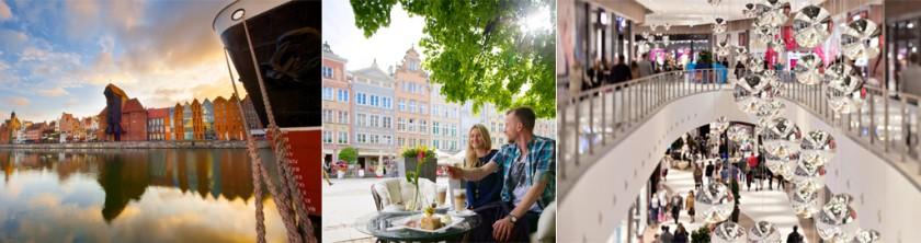 Gdansk vid floden Motlawa, fika i det vacka centrum, norra Polens största shoppingcenter Centrum Riviera