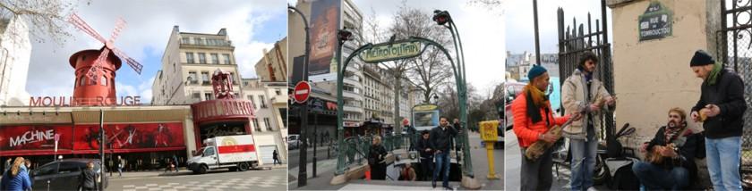 Moulin Rouge, Metro Blanche och Rue de Tombouctou i Paris